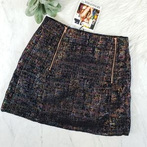 MINKPINK Black Metallic Iridescent Moto Mini Skirt